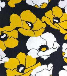 Koko Lee™ Cotton Fabric-Large Flower On Black