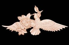 Hand Carved Solid Maple Wood Bird and Rose Onlay 7.5x12 | eBay