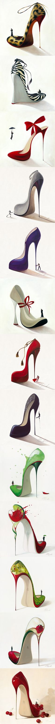 All the beautiful shoe illustrations by Inna Panasenko. I have four in my room! :) Love them!