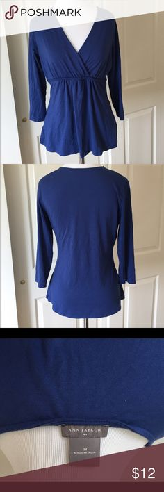Ann Taylor, Blue, V-Neck, 3/4 Sleeved Top Ann Taylor, Blue, V-Neck, 3/4 Sleeved Top with Braided Empire Waist Embellishment. Gently used, size M. Ann Taylor Tops Blouses