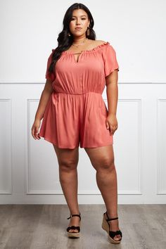 49a921dd33c3 Detail View 2   RELAXED STYLE PLUS SIZE RUFFLE ROMPER Plus Jumpsuit