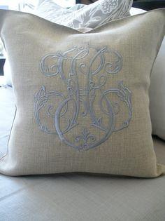 Periwinkle monogram on flax linen pillow- so pretty Monogram Pillows, Linen Pillows, Linen Bedding, Decorative Pillows, Throw Pillows, Monogrammed Napkins, Bedding Sets, Monogram Template, Monogram Fonts
