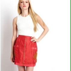 """Button front silk skirt with pockets Waist - 29"""", Length - 17.5"""", Color - watermelon, Material - 100% silk with 100% cotton lining, never worn in new condition. 2b.rych Skirts"""