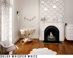 This is dulux 'whisper white'. We've used this on our walls with dulux 'vivid white' trims Room Paint Colors, Interior Paint Colors, Wall Colors, House Colors, Interior Design, Dulux White Paint, White Paints, Dulux Grey, Nursery Inspiration