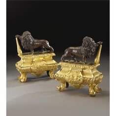 PROPERTY FROM A DISTINGUISHED WEST COAST COLLECTION A PAIR OF LOUIS XIV STYLE GILT AND PATINATED BRONZE CHENETS PARIS, 19TH CENTURY