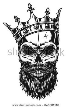 Illustration about Illustration of black and white skull in crown with beard isolated on white background. Illustration of magic, banner, evil - 92486212 Crown Tattoo Men, Crown Tattoo Design, Skull Tattoo Design, Skull Design, Skull Tattoos, Body Art Tattoos, Sleeve Tattoos, Tattoo Designs, Wolf Tattoos
