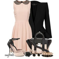 """Blush and Black Contest 2"" by amybwebb on Polyvore"