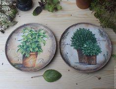 """Купить """"Травы Прованса"""" тарелки - оливковый, травы прованса, травы, тарелка, Тарелка декоративная"""