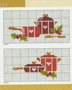 Christmas Pots and Pans, bad link Cross Stitch Heart, Cute Cross Stitch, Cross Stitch Borders, Cross Stitch Designs, Cross Stitching, Cross Stitch Embroidery, Cross Stitch Patterns, Cross Stitch Kitchen, Rico Design