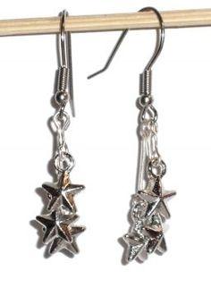Ohrringe Sterne Edelstahl Ohrhänger Modeschmuck Damen Ohrschmuck ohne Stein Metall Legierung Neuware