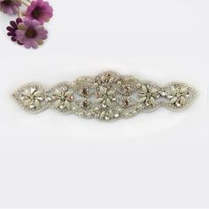 Pearls and Rhinestone Applique,it can hot fix or sewing on wedding dress belt sash,bridal sash,very shinning.