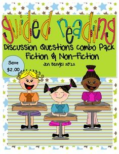 Guided reading discussion questions work great for checking students' comprehension after listening to students read.  This combo pack includes 72 open-ended discussion questions for both fiction and nonfiction text.  Questions are also on printable pages for students to write their responses.