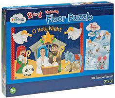 O HOLY NIGHT PUZZLE  It's 2-in-1! A Nativity scene on one side, a winter scene on the reverse and 54 jumbo pieces mean hours of hands-on fun for ages 3+.