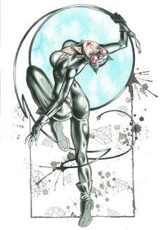 Ladies of Batman Watercolor art print: Catwoman.