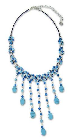 NOVICA Multi-Gem Stainless Steel Beaded Necklace ** More info could be found at the image url.