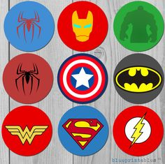 Superhero birthday cupcake topper  Superman por blueprintables