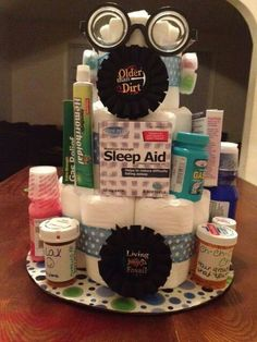 Over The Hill Diaper Cake 65th Birthday Party Ideas 50th Gifts For Men