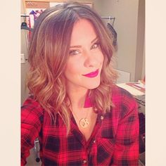 We are going country on @Matt Valk Chuah Broadcast today with Tracy Lawrence so I busted out some western plaid, red lips, and that jacked up Texas hair extra big! - @Courtney Baker Baker Kerr- #webstagram