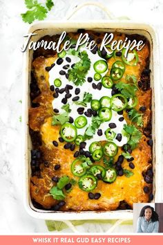 This best tamale pie has cheesy cornbread topping plus more cheese on top of that! It's filled with black beans, more cheese and seasoned ground beef.You can choose to infuse with chili mix , taco seasoning or your favorite enchilada sauce. Top it off with sour cream, jalapeno and more black beans. Perfect for busy weeknights! Cheesy Cornbread, Jalapeno Cheddar Cornbread, Tamale Pie, Enchilada Sauce, Tamales, Taco Seasoning, Enchiladas, Sour Cream, Lasagna