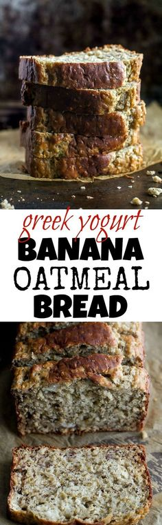 Greek Yogurt Banana Oat Bread - so soft and tender that you'd never be able to tell it's made without any butter or oil. This recipe is a great healthier alternative to a traditional favourite runningwithspoons. Banana Oat Bread, Oatmeal Bread, Banana Oats, Greek Yogurt Banana Bread, Oatmeal Yogurt, Healthy Sweets, Healthy Baking, Bon Dessert, Dessert Recipes