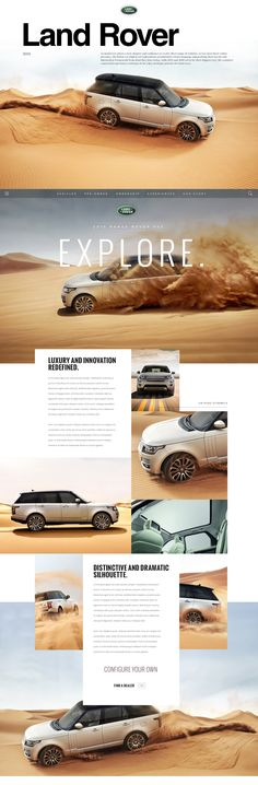 As Land Rover enters a new chapter and continues to evolve their range of vehicles, so too must their online presence. The below are high level explorations around their visual language and pushing their layout and interaction framework from what they hav Website Layout, Web Layout, Layout Design, Ui Design, Website Ideas, Website Design Inspiration, Clean Web Design, Site Vitrine, Grid Layouts