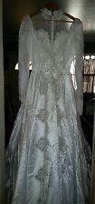 Vintage 1980s Wedding Dress Long Sleeve/train Satin White