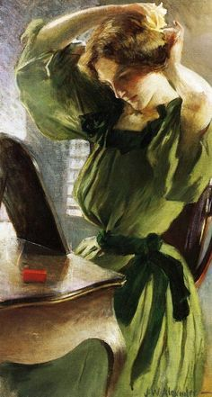 Girl in green dress by John W. Alexander