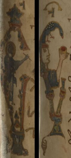 Particularly noteworthy are two anthropomorphic initials found at the beginning of the first two sections, below the adorned headpieces:(L) Add MS 82957, f 1r, detail of St John the Evangelist in the form of an epsilon. (R) Add MS 82957, f 59r, detail of a man feeding a bird in the form of an epsilon.