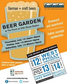Reminder: The New Pop-Up Beer Garden Hits The Porch At 30th Street Station For Three Days Next Thursday-Saturday, July 12-14
