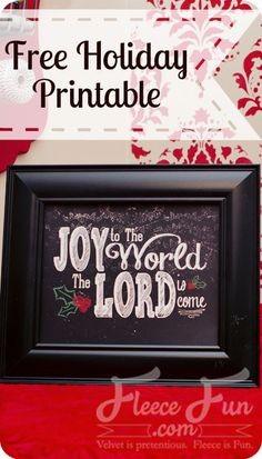"FREE DIY Joy to the World printable!  This free Christmas printable features the opening lyrics to the Christmas classic ""Joy to the World"".  An elegant version of the chalkboard look.  This art will compliment a mantle, side table and other decor spots throughout your home."