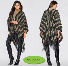 poncho cu franjuri cadrilat din stofa in carouri Kimono Top, Tops, Women, Fashion, Templates, Moda, Women's, Fashion Styles, Woman