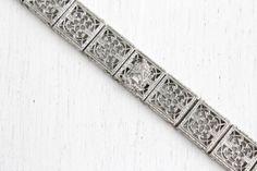 SALE Antique Art Deco Filigree Bracelet  Rhodium by MaejeanVintage, $72.00