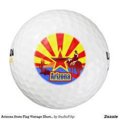 Arizona State Flag Vintage Illustration Golf Balls