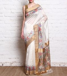 white-gold-chanderi-silk-printed-saree, Rs.8,000  http://www.indianroots.in