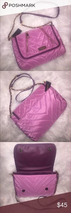 BEBE quilted nylon cross-body bag BEST OFFERBrand new. Fully function. Flap top magnetic closure. Inside has one zipped pocket and two slide pockets. Front sided zip pocket. Outer back full magnetic pocket. Gold plated hardware. Material: Body and trim 100% nylon water repeller and lining 100%polyester. Color mauve; style #E06-637. Very light. Can hold daily essential. Great for day and night errand. Check out my closet for more brand new items in negotiable prices. bebe Bags Crossbody Bags