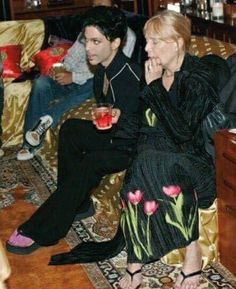 Prince with Joni Mitchell, this pic was taken at Joni Mitchell's home in Laurel Canyon, Ca. Very rare photo of Prince. Photo taken by Afshin Shahidi