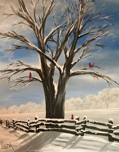 Cheerful Winter - Cheerful Winter Snowy tree with cardinal acrylic painting on canvas. Acrylic Art, Acrylic Painting Canvas, Canvas Art, Acrylic Painting Inspiration, Canvas Painting Tutorials, Diy Canvas, Winter Trees, Winter Art, Winter Painting