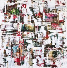 Abstrakte Collage: Weinleben | 100x100 cm