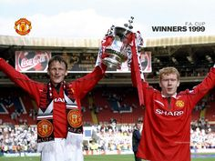 Teddy Sheringham and Paul Scholes 1999 Fa cup win