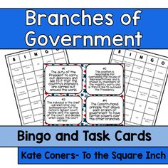 Branches of Government Bingo and Task Cards Included in this product.