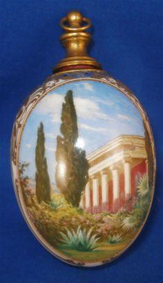 Rare Art Nouveau KPM Berlin Porcelain Scenic Perfume Bottle Egg