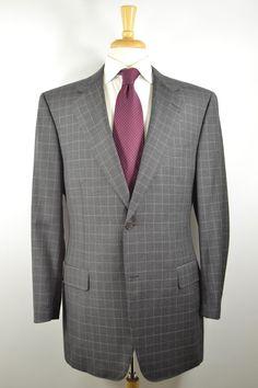 Canali Coat Jacket Gray & Blue Plaid 2 Button 2 Vents Wool 42L