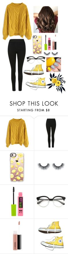 """Yellow: my favorite color."" by gussied-up ❤ liked on Polyvore featuring Chicwish, Casetify, Maybelline, MAC Cosmetics and Converse"