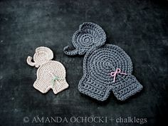 """Worked in DK yarn, this little elephant appliqué measures 7"""" from top to bottom.  Worked in thread, as Amanda (chalklegs) found out, it's a teeny 4"""" (10cm).  Now isn't that just perfect for trimming baby items! #tcdesignsuk #chalklegs #mmmakers #crochet"""