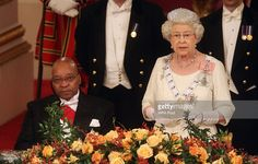 Queen Elizabeth II (R) and President of South Africa Jacob Zuma (L) attend a state banquet at Buckingham Palace on March 3, 2010 in London, England.