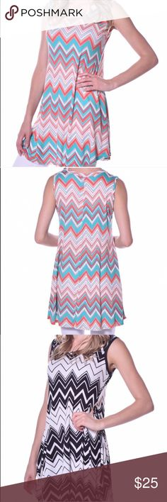 IN STOCK!!!! ✨Pastels Chevron Tunic✨ Brand New Pastels Chevron Tunics•Available in both colors shown in photo•Made in USA• Material Contents are 96% Rayon and 4% Spandex• Pastels Clothing Tops Tunics