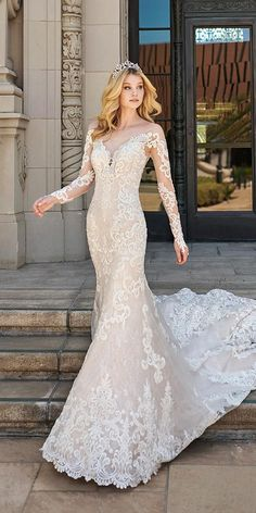 Magbridal Junoesque Tulle & Lace Bateau Neckline Mermaid Wedding Dresses With Lace Appliques Summer Wedding Gowns, Simple Wedding Gowns, Simple Gowns, Long Sleeve Wedding, Wedding Dress Shopping, Cheap Wedding Dress, Wedding Party Dresses, Bridal Dresses, Bridesmaid Gowns