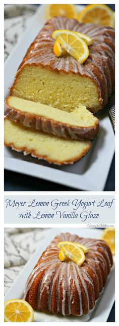 This Meyer Lemon Greek Yogurt Loaf with Vanilla Lemon Glaze from CookingInStilettos.com is a must for the brunch table. A cross between a quick bread and a pound cake, this moist and rich bread is packed with lemon flavor with a hint of vanilla and perfect slathered with jam or on its own.  If you love the lemon loaf from the local coffee house, you are going to love this recipe.  #Brunchweek  Sponsored Lemon Loaf | Quick Bread | Loaf Cake | Vanilla | Brunch | Breakfast | Greek Yogurt Cake