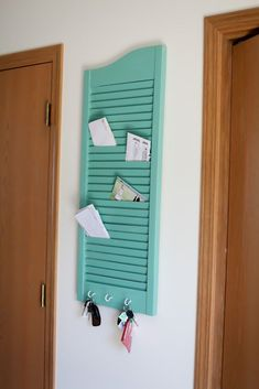 11 Colorful and Crafty Ways to Repurpose Old Shutters – Repurposed Diy Shutters, Wooden Shutters, Window Shutters, Repurposed Shutters, Window Frames, Small Shutters, Shutter Projects, Mail Storage, Mail Holder
