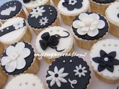 Black and white cupcake decorations